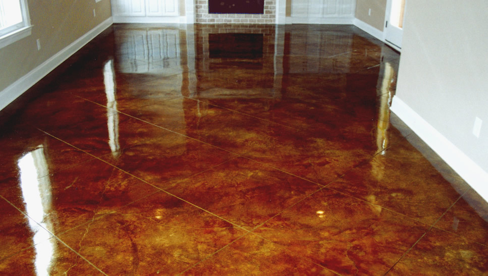 Saw Cut Acid Stained Concrete Floors