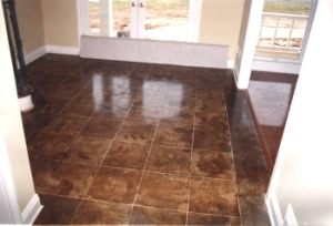 Saw cut and acid stained concrete floor - David Stovall, Memphis TN